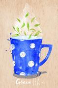 Teacup green tea kraft Stock Illustration