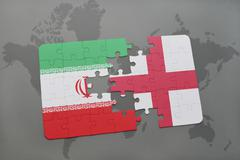 Puzzle with the national flag of iran and england on a world map background. Stock Photos