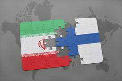 Puzzle with the national flag of iran and finland on a world map background. Stock Photos