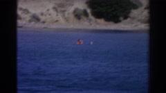 1962: man water skiing on the gorgeous lake. IZMIR TURKEY Stock Footage