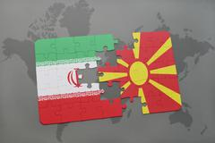 Puzzle with the national flag of iran and macedonia on a world map background Stock Photos