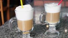 Hot latte with tasty foam Stock Footage
