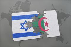 Puzzle with the national flag of israel and algeria on a world map background Stock Photos