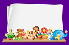 Paper template with lots of toys Stock Illustration