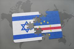 Puzzle with the national flag of israel and cape verde on a world map backgro Stock Photos