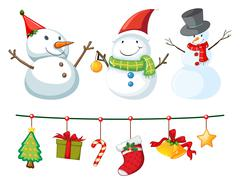 Christmas theme with snowman and ornaments Stock Illustration