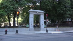 The entrance to the Granary Burying Ground, Boston, MA. Stock Footage