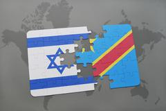 Puzzle with the national flag of israel and democratic republic of the congoo Stock Photos
