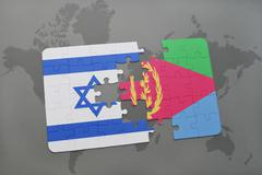 Puzzle with the national flag of israel and eritrea on a world map background Stock Photos