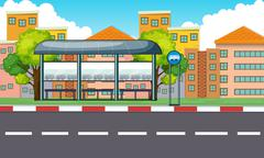 City scene with bus stop and buildings Stock Illustration