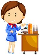 Flight attendant and drinks trolley cart Stock Illustration