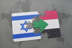 Puzzle with the national flag of israel and sudan on a world map background. Stock Photos
