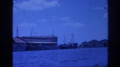 1962: vintage footage: panoramic view of a marina with high waters Stock Footage