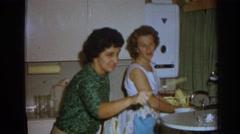 1962: women in kitchen IZMIR TURKEY Stock Footage