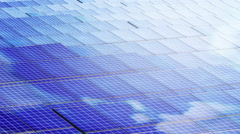 Solar cell panel Wild Shot with clouds reflection Stock Footage