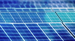 Close up of Solar cell panel with reflection of clouds Stock Footage
