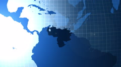 Venezuela. Zooming into Venezuela on the globe. Stock Footage