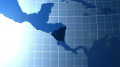 Nicaragua. Zooming into Nicaragua on the globe. Stock Footage