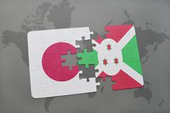 Puzzle with the national flag of japan and burundi on a world map background. Stock Photos