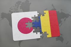 Puzzle with the national flag of japan and chad on a world map background. Stock Photos
