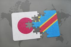 Puzzle with the national flag of japan and democratic republic of the congo o Stock Photos