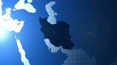 Iran. Zooming into Iran on the globe. Stock Footage