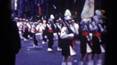 1962: important military march down the street. NEW YORK CITY Stock Footage