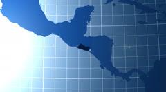El Salvador. Zooming into El Salvador on the globe. Stock Footage