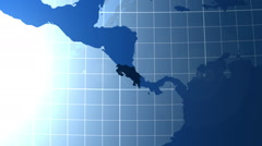 Costa Rica. Zooming into Costa Rica on the globe. Stock Footage