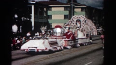 1962: glitzy float in retro parade PASADENA CALIFORNIA Stock Footage