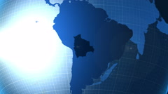 Bolivia. Zooming into Bolivia on the globe. Stock Footage