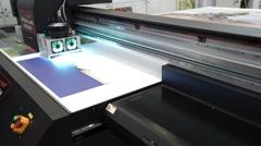 Industrial flatbed UV printer Stock Footage