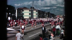 1962: an interesting parade taking place down the street. PASADENA CALIFORNIA Stock Footage