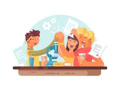 Teamwork, successful students Stock Illustration