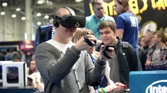 Man playing video game with Oculus Development Kit VR glasses Stock Footage