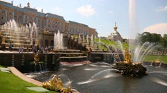 Palace and Park Ensemble in Peterhof in Russia Stock Footage