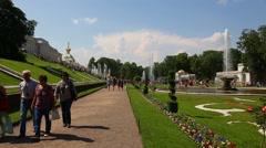 Palace and Park Ensemble in Peterhof, Saint-Petersburg Stock Footage