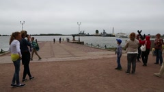 Tourists on excursion in harbor town of Kronstadt Stock Footage