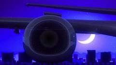 El Paso Texas USA America Airplane Take Off Moon Night Blue Skyline Travel Stock Footage