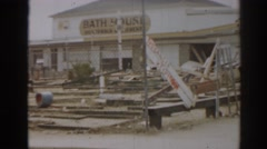 1963: bath house and walk in boys arcade NEW JERSEY Stock Footage