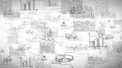 Seamless business, marketing and financial statistic doodle background Stock Footage