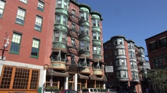 Beautiful architecture on North Square Park, North End, Boston, MA. Stock Footage
