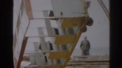 1963: tram car of white and yellow connected panels, vintage clip Stock Footage