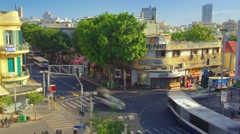 Shenkin street time lapse. Summer day in Tel Aviv Stock Footage