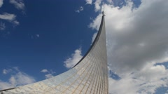 Time-lapse Monument to the Conquerors of Space. Moving clouds, sunny weather. Stock Footage