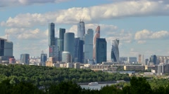 Timelapse Moscow city from distance. Fast moving clouds. River cruise. Sunny day Stock Footage