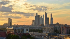 Beautuful sunset Moscow city business center. Timelapse fast moving clouds. Stock Footage