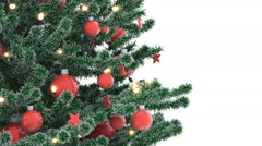 Christmas tree isolated on white background. Alpha Matte. Stock Footage