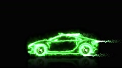 Abstract animation of green energy futuristic super car with light wireframes Stock Footage