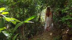 Attractive Woman Walks Forest Path Jungle 5K HD Stock Video Footage Stock Footage